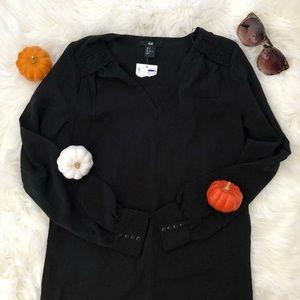 🖤H&M Long Sleeve V Neck Dress Black Size 2🖤